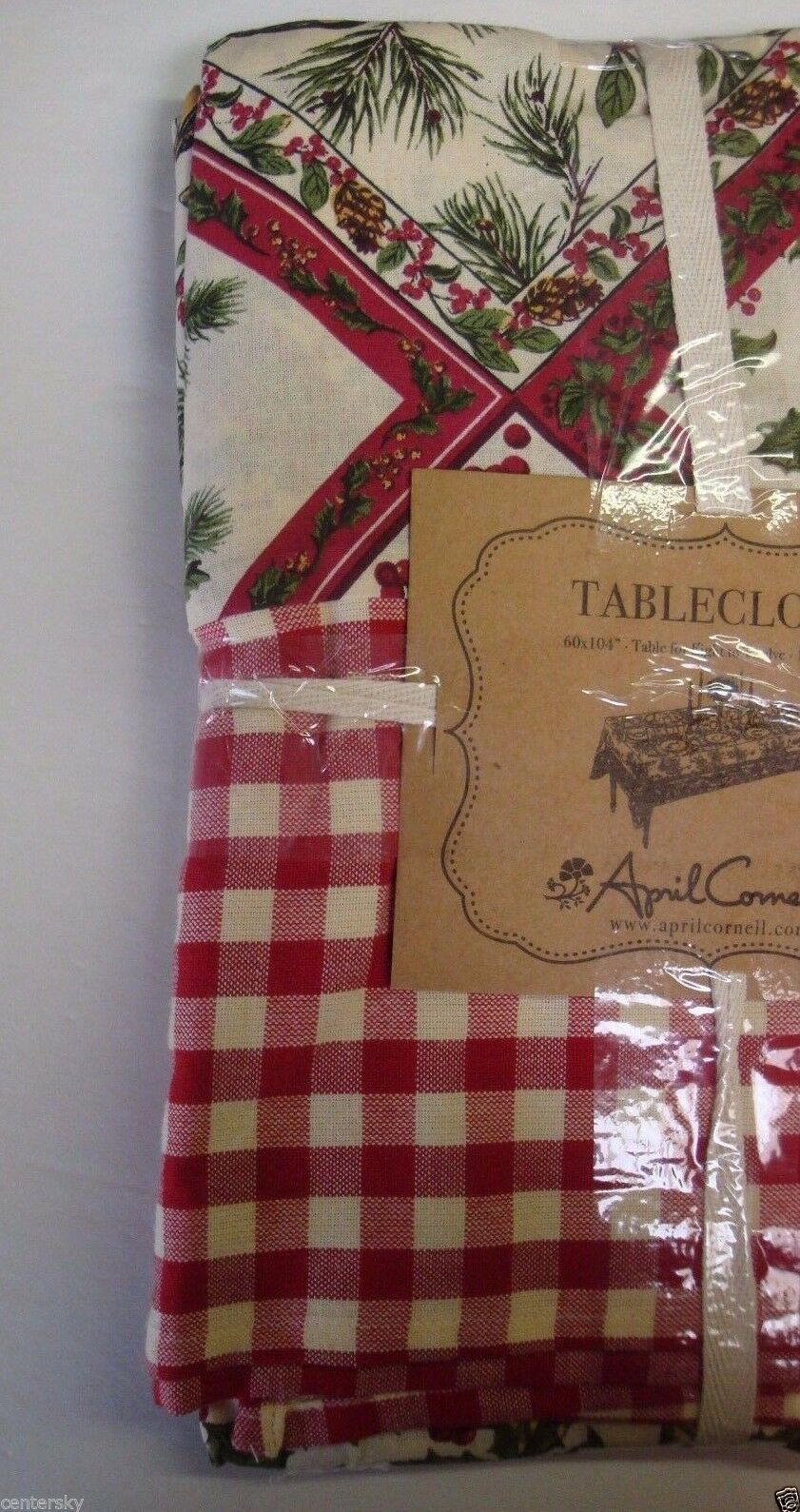 """New April Cornell Tablecloth 60x104"""" Christmas Holly Bird Checkered Boarder"""