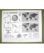 PHYSICS Earth Magnetism World Map Needle Inclination etc - 1870s Print E... - $17.28