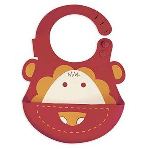 Lovely Cartoon Lion Pattern Button Silicone Baby Bibs Pocket Meals
