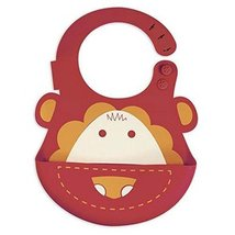 Lovely Cartoon Lion Pattern Button Silicone Baby Bibs Pocket Meals image 1