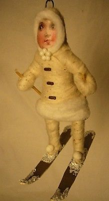 Vintage Inspired Spun Cotton Christmas, Winter Ornament Skier Girl No. 92