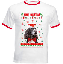 Merry Christmas Spring Spaniel - Red Ringer Cotton Tshirt - $19.53