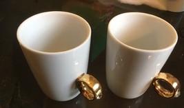 Pair Fred & FriendS Tea/Coffee Mug Diamond Gold solid porcelain - £8.88 GBP