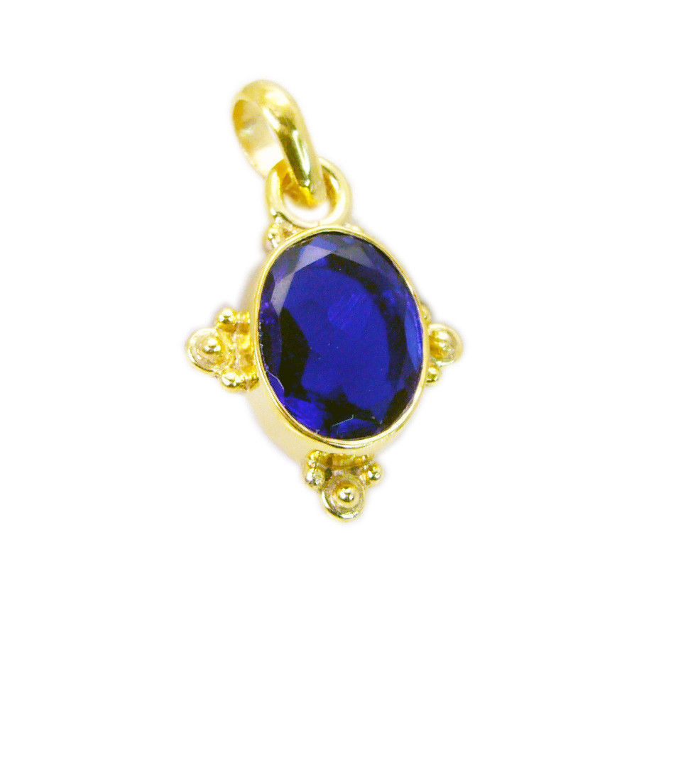 inviting Blue Shappire CZ Gold Plated Blue Pendant Fashion suppiler US