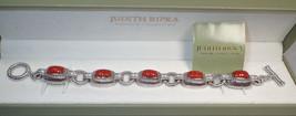Judith Ripka Sterling Silver Carved Jasper CZ Station Link Bracelet New in Box image 2