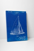 Sail Boat Blue Patent Print Gallery Wrapped Canvas Print. Bonus Wall Decal! - $44.50+