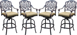 Patio bar stool set of 4 Elisabeth cast aluminum Outdoor swivel Barstools Bronze image 1