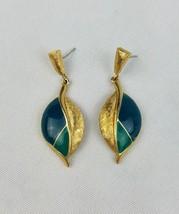 Vintage Trifari green enamel gold tone drop stud back earrings - $42.56