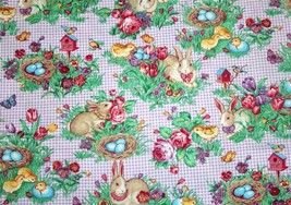 """Spring Floral Bunnies & Birds Lilac Gingham Check Cotton Fabric 35"""" x 43... - $6.99"""