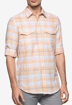 Calvin Klein Men's Shadow Plaid Shirt , Orange Marigold, Size L, MSRP $79 - $39.59