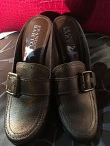 WOMENS FRANCO SARTO BROWN LEATHER SLIDES MULES SHOES - SIZE 5 image 4
