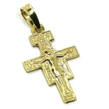 "18K YELLOW GOLD FLAT SAINT DAMIANO CROSS PENDANT, 2.3 CM, 0.9"", SAINT FR... - $195.00"