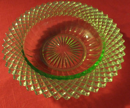 "Vaseline glass, small bowl. diamond pattern, 6""across, abt.2""deep, great... - $16.00"