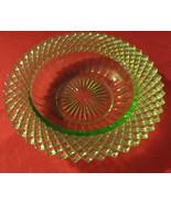 "Vaseline glass, small bowl. diamond pattern, 6""across, abt.2""deep, great... - $16.00"