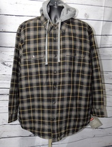 Craftsman Men's Plaid Hooded Shirt Jacket (Black Onyx) Size: XL