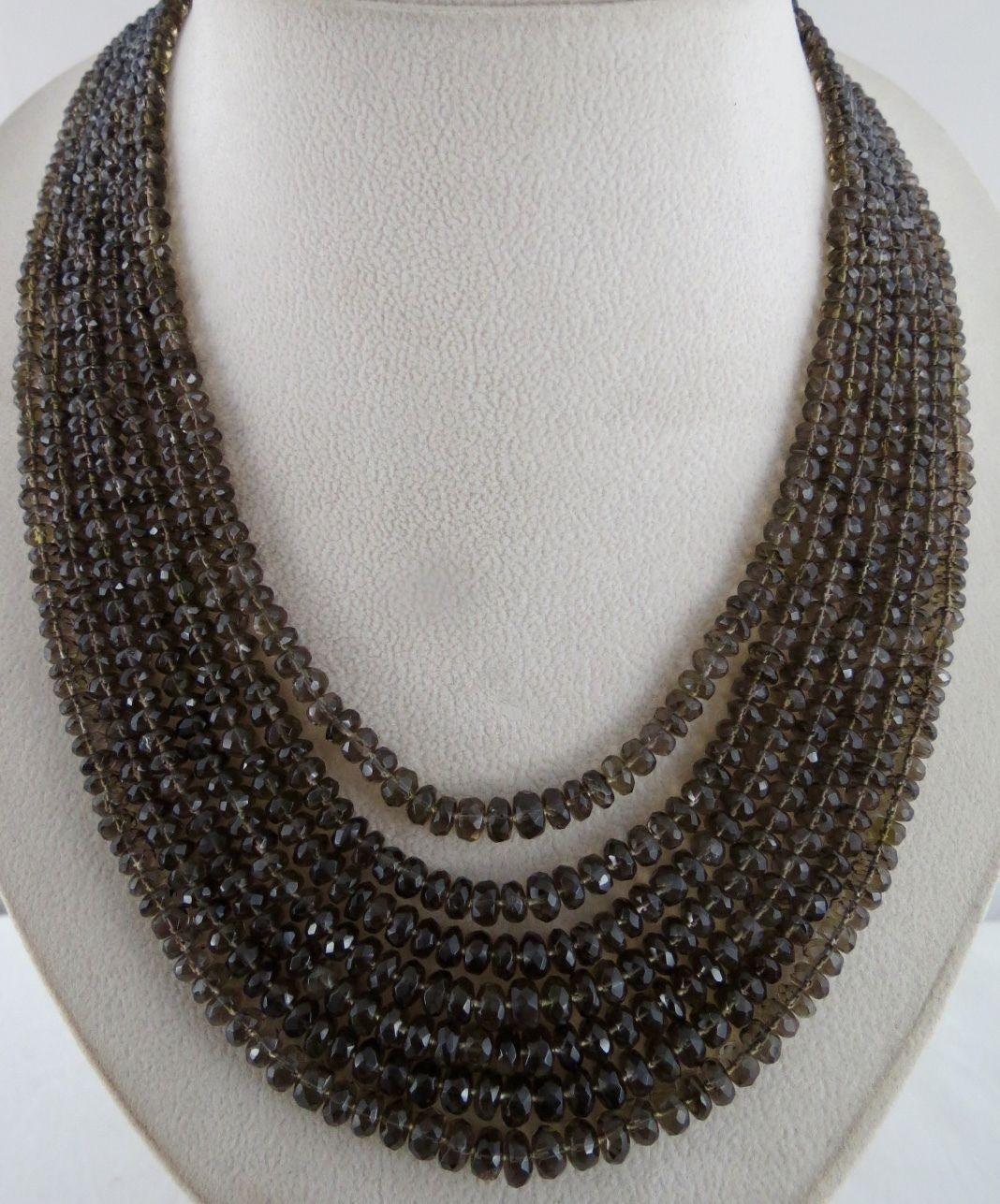 7 LINE 610 CTS NATURAL BLACK SMOKY QUARTZ FACETED ROUND BEADS LADIES NECKLACE
