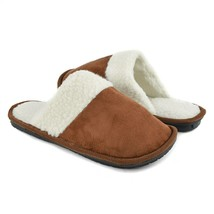 Men's Slippers Size SMALL 7-8 Brown W White Sherpa Lining Memory Foam NEW - $18.80