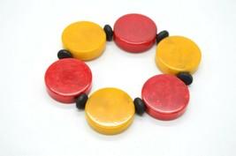 Cherry Red Butterscotch Yellow Bakelite Disc Mod Stretch Bracelet Vintage - $98.99