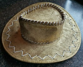 Gold Cowboy Hat Painted Felt Flat Decorated Brim Pinch Point Costume Cos... - €36,64 EUR