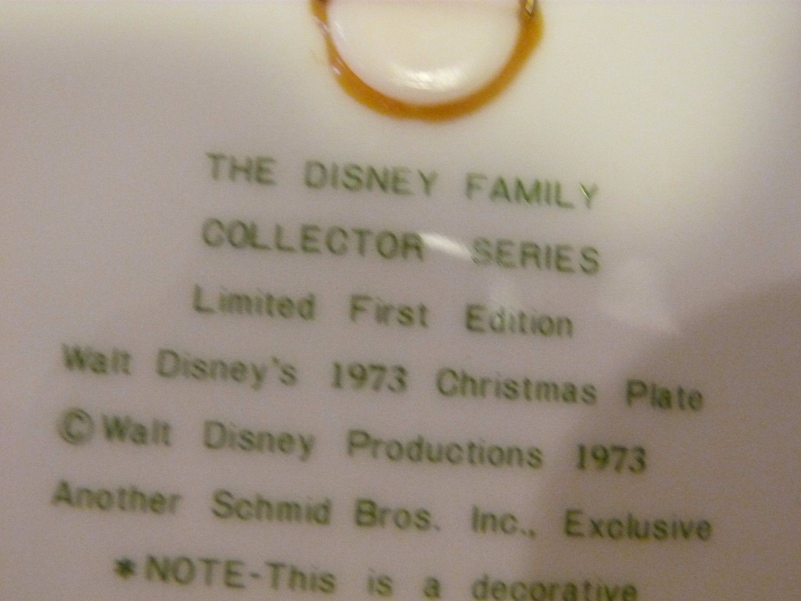 Schmid Walt Disney Limited Edition 1st in Series 1973 Christmas Plate Rare $120