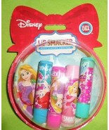 LIP SMACKER 4pc Gift Set Snow Globe Ornament Disney Princess Lip Balm Gloss - $9.79