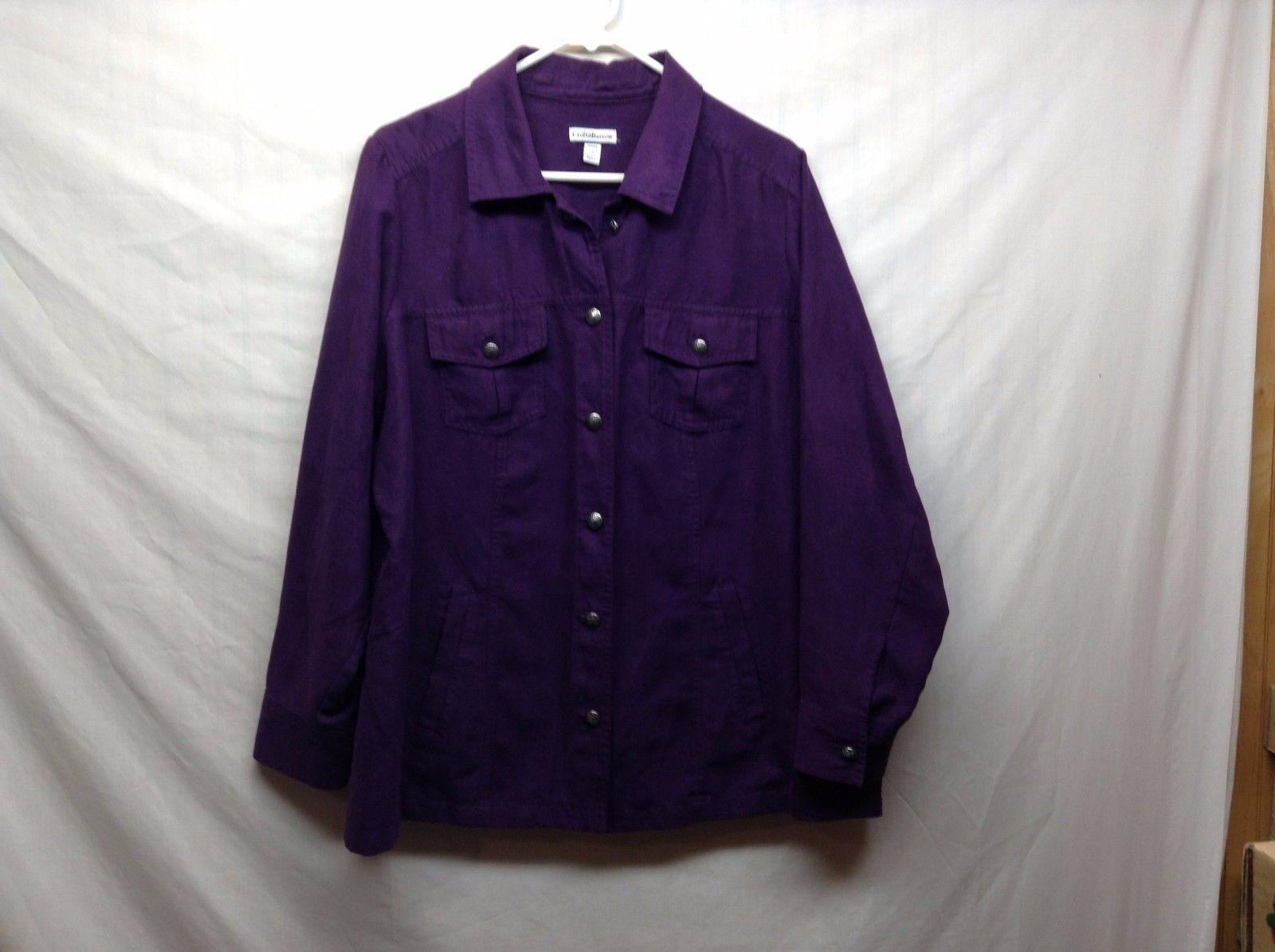 Croft & Barrow Deep Purple Button Up Collared Shirt Sz 1X