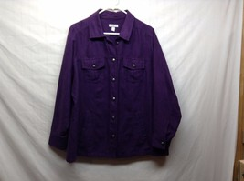 Croft & Barrow Deep Purple Button Up Collared Shirt Sz 1X