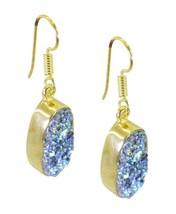 Multi Gold Plated Glass pulchritudinous Druzy general Earring UK gift - $13.17