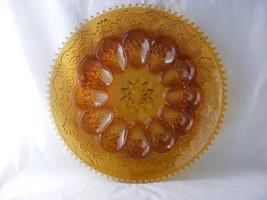 "Amber Tiara Sandwich Glass Egg Plate  12"" across Mint Condition - $19.95"
