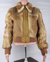 Guess women's jacket coat bomber leather rabbit long sleeve camel size S - $64.07