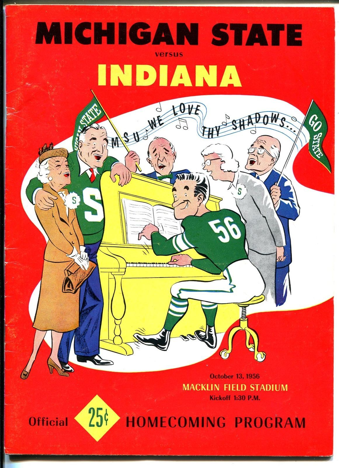 Primary image for Michigan State vs Indiana NCAA Football Game Program-10/13/56-team pix-FN/VF