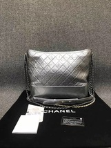 AUTH Chanel Large Gabrielle Quilted Leather Silver Hobo Bag GHW image 3