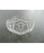 "Cut Glass 6"" Wide Nappy Trinket Bowl Nut Bowl Candy Dish - $7.92"