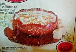 Indiana Glass Heirloom Iridescent Sunset Carnival 2 pc Dessert Set NEW I... - $89.09