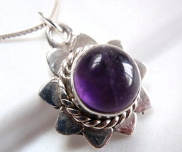 Amethyst Pendant w/ Rope Style Accents 925 Sterling Silver Corona Sun Jewelry - $11.83