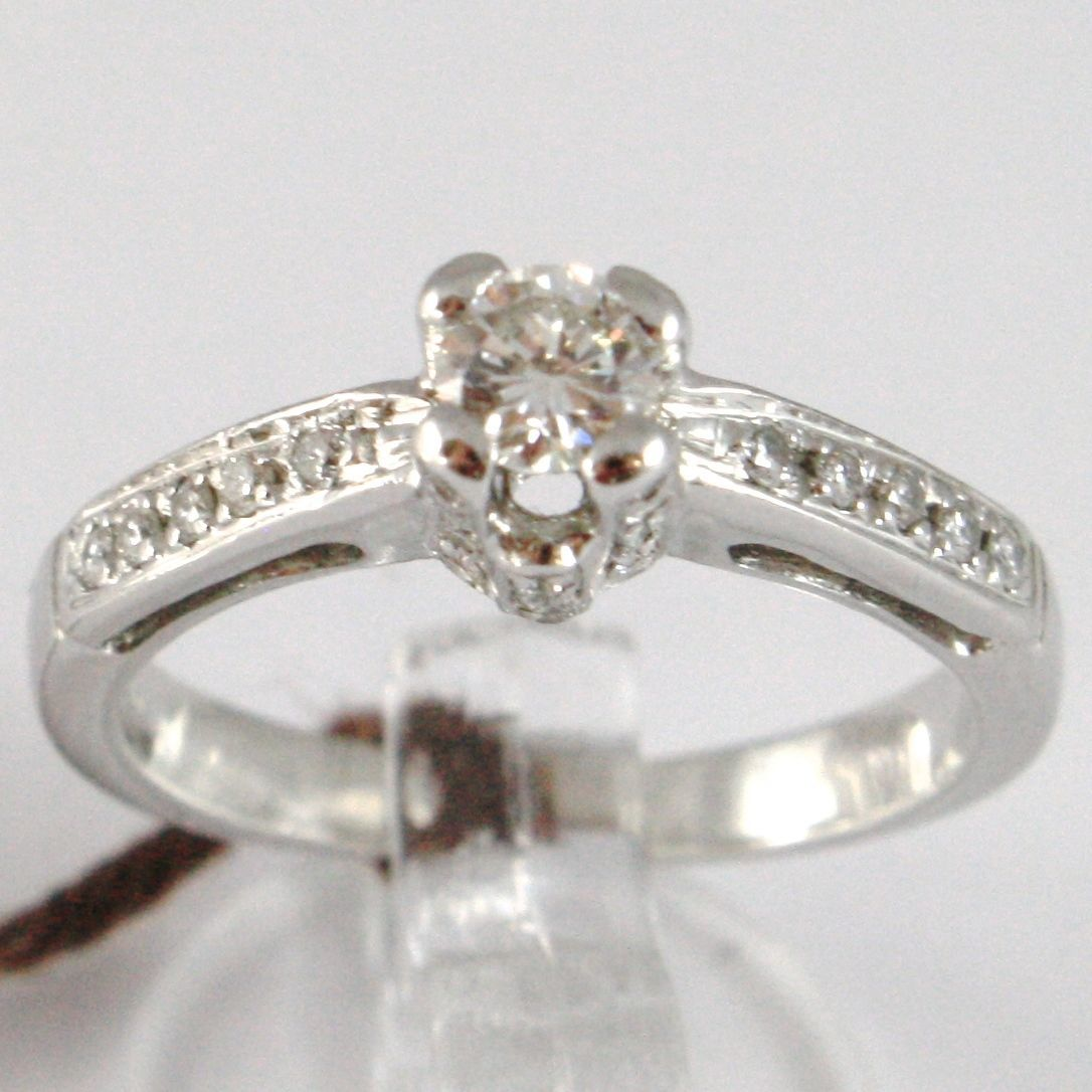 WHITE GOLD RING 750 18K, SOLITAIRE, BEZEL SETTING CROWN, DIAMONDS CARAT 0.52