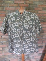 Men's Casual Button Down Weathered Dye Crossings Flowered Oxford Green E... - $20.99