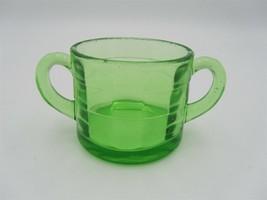Block Optic Short Sugar Bowl Double Handle by Anchor Hocking Green Depre... - $5.89