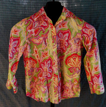 Lauren Ralph Lauren PInk & Green Paisley Cotton Blouse Shirt Size PXS - $24.75