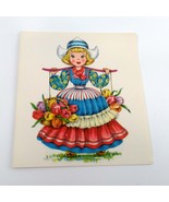 Dolls of Many Lands Card Holland Vintage Blank Note Card for Collage, Ep... - $2.50