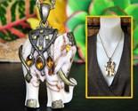 Vintage indian elephant pendant ornate marbled brass trim figural thumb155 crop