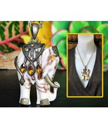 Vintage Indian Elephant Pendant Ornate Marbled ... - $24.95