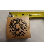 PSX Wreath Rubber Stamp F-1940 Candy Cane- Gingerbread -Man- Heart- Bow-... - $6.92
