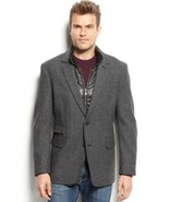 INC International Concepts Mens Blazer Sz L Charcoal Herringbone Wool Ja... - $59.35