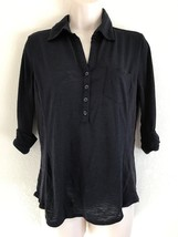 89TH & MADISON ROLLED 3/4  SLEEVE NAVY BLUE HENLEY TOP Size M Ribbed Side - $9.49