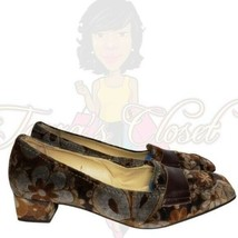 Isaac Women's Brown Floral Square Slip-On Heels Sz 8M - $33.88