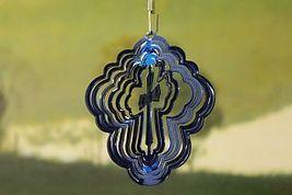 3 in stainless steel blue cross USA 3D hanging garden yard wind spinner, spinner - $9.00