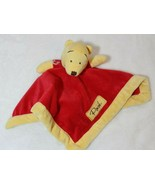 Disney Winnie Pooh Baby Security Blanket Red Yellow Lovey Velour Baby Shower - $14.62
