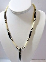 Vintage White Brown Pipe Dzi Pendant Necklace Vintage Midcentury 1970'S - $28.00