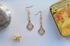 Rose Gold Pink Gold Tear Drop Thread Pendant Dangle Drop Earrings - $9.99